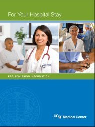 For Your Hospital Stay - UCSF Medical Center