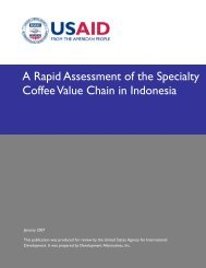 A Rapid Assessment of the Specialty Coffee Value Chain in ... - usaid