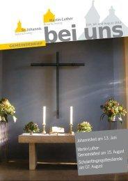 Johannisfest am 13. Juni Martin-Luther ... - in St. Johannis