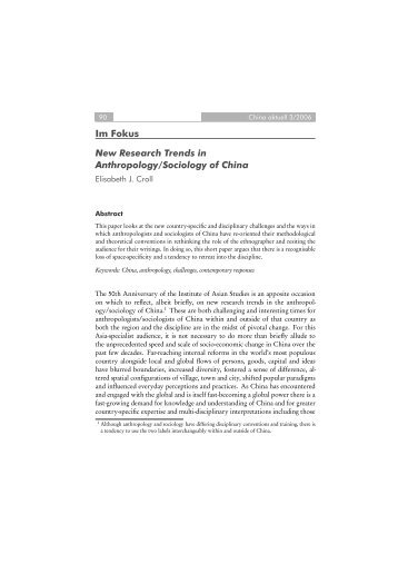 New Research Trends in Anthropology/Sociology of China