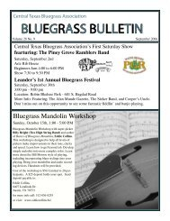 BLUEGRASS BULLETIN - Central Texas Bluegrass Association