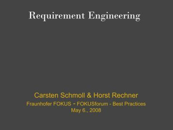 Requirement Engineering - Horst Rechner