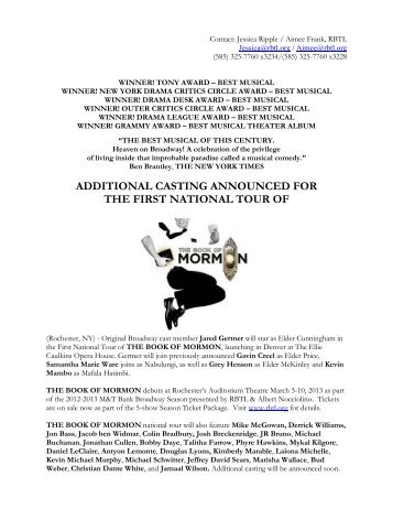 additional casting announced for the first national tour of - Rochester ...