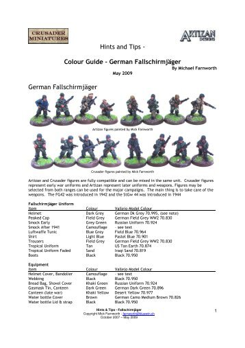 Farnworth Colours German Fallshirmjager WW2 ... - Artizan Designs