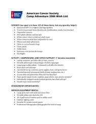 Camp Adventure 2006 Wish List - ACS Interactive Community Pages
