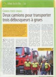 Deux camions pour transporter trois débusqueurs à grues - Camox