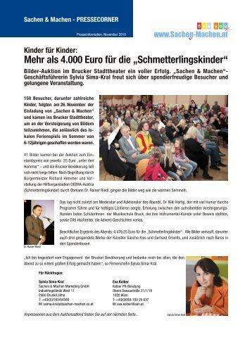"""Mehr als 4.000 Euro für die """"Schmetterlingskinder"""" - Sachen & Machen"""