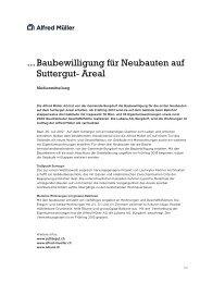 Baubewilligung für Neubauten auf Suttergut- Areal - Alfred Müller AG