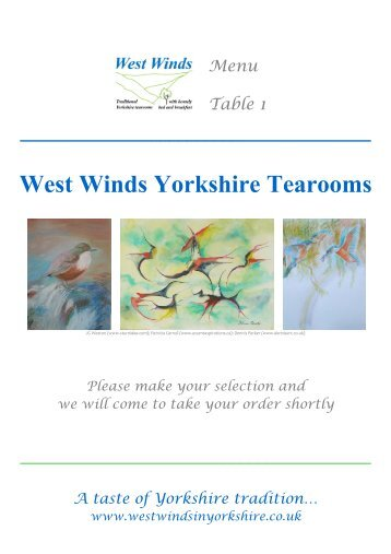 Menu Table 1 - West Winds Yorkshire Tearooms