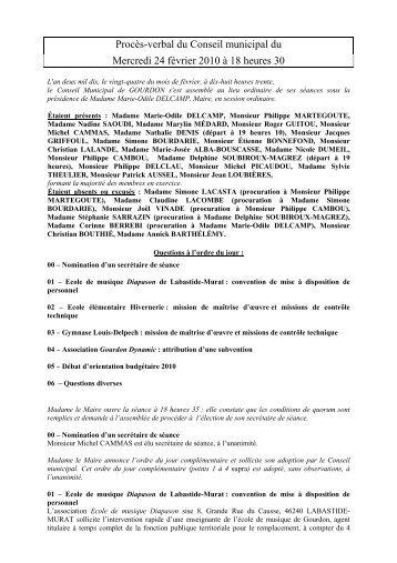 Procès-verbal du 24 février 2010 - Commune de Gourdon, Lot