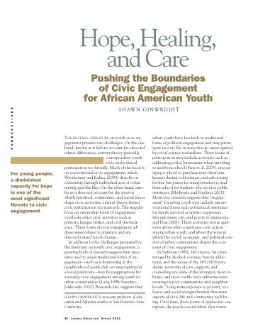 Hope, Healing, and Care: Pushing the ... - Shawn Ginwright