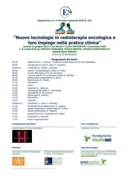 """""""Nuove tecnologie in radioterapia oncologica e loro ... - emicenter"""
