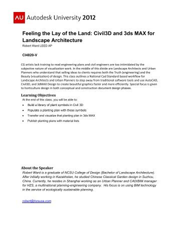 Civil3D and 3ds MAX for Landscape Architecture - Autodesk