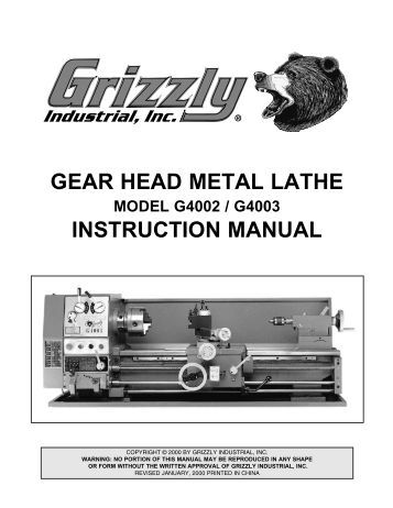 GEAR HEAD GAP BED LATHE - Harbor Freight Tools