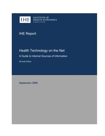 IHE Report Health Technology on the Net - Institute of Health ...