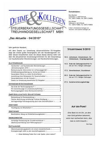 """Das Aktuelle – 04/2010"" - Duhme & Kollegen Steuerberatungs"