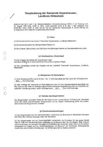 Hauptsatzung - Samtgemeinde Duingen