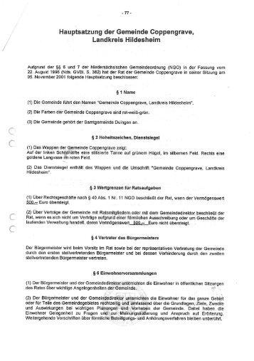 Hauptsatzung der Gemeinde Coppengrave - Samtgemeinde Duingen