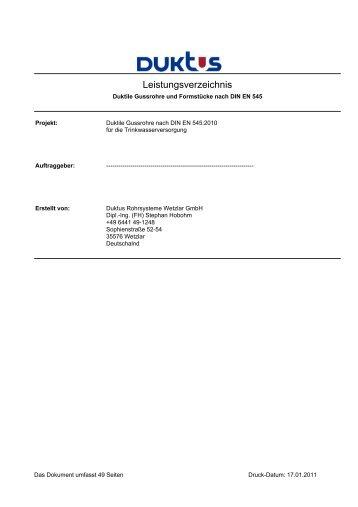 Leistungsverzeichnis - Duktus