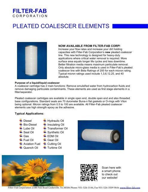 filter-fab pleated coalescer elements - Filter-Fab Corporation