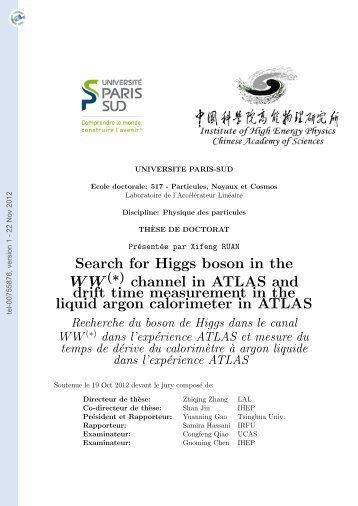 Recherche du boson de Higgs dans le canal WW* dans l'expérience ...