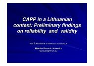 CAPP in a Lithuanian context: Preliminary findings on reliability and ...