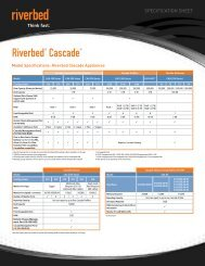 SPECIFICATION SHEET Riverbed ® Cascade ® Model Specifications