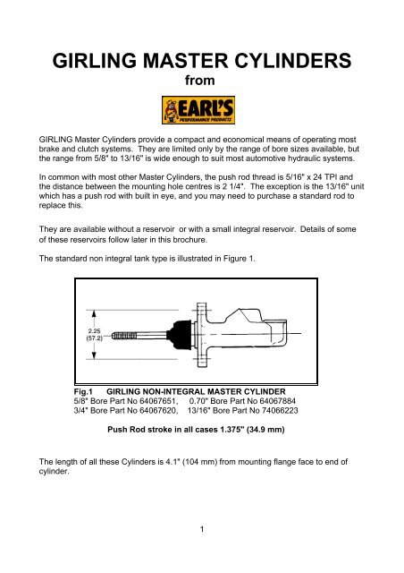 GIRLING Master Cylinders - Earl's Performance Products Australia