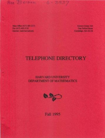 TELEPHONE DIRECTORY - Harvard University