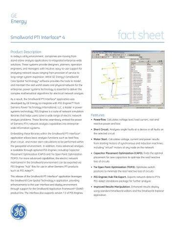 Smallworld PTI Interface* 4 fact sheet - GE Energy