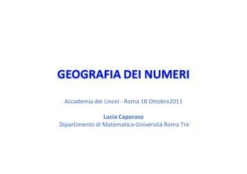 Accademia dei Lincei - Roma 18 Ottobre2011 Lucia Caporaso ...