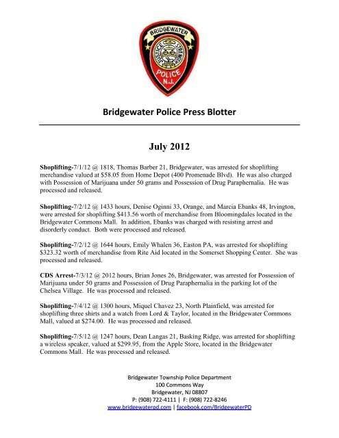 Bridgewater Police Press Blotter July 2012