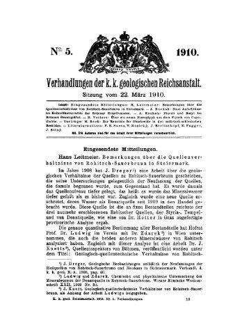 Verhandlungen der1 1 geologischen Reichsanstalt.