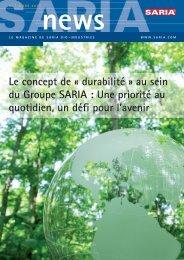 Le concept de « durabilité » au sein du Groupe SARIA : Une priorité ...
