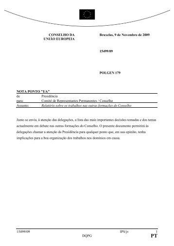 15499/09 IPS/jv 1 DQPG CONSELHO DA UNIÃO EUROPEIA ...