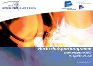 und 10er-Karten Semester - Hochschulsport - Carl von Ossietzky ...
