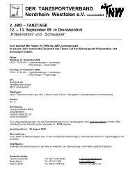 2. JMD – TANZTAGE 12. – 13. September 09 in Drensteinfurt - TNW