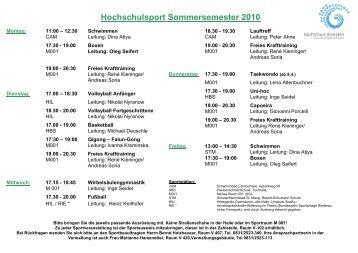 Hochschulsport Sommersemester 2010 - Hochschule Kempten