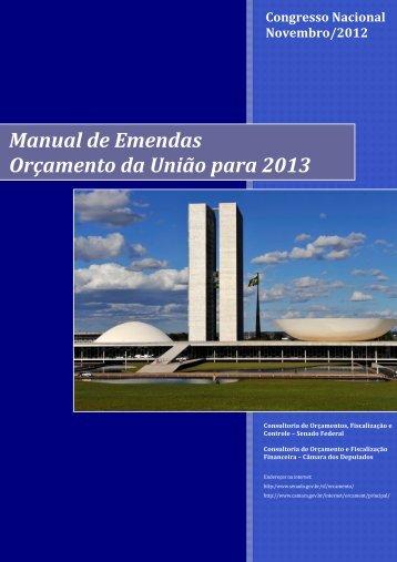 Manual de Emendas Orçamento da União para 2013 - Câmara dos ...