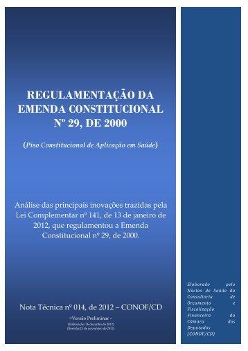 REGULAMENTAÇÃO DA EMENDA CONSTITUCIONAL Nº 29, DE ...