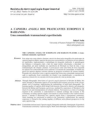 A CAPOEIRA ANGOLA DOS PRATICANTES EUROPEUS E ...