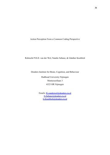 Action Perception From a Common Coding Perspective - The Social ...