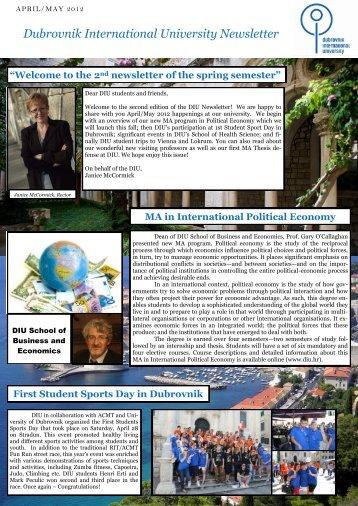 the 2nd newsletter of the spring semester - Dubrovnik International ...