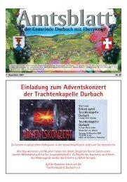 Einladung zum Adventskonzert der Trachtenkapelle Durbach