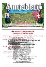 Narrenclub Ebersweier e.V. Fastnachtstermine 2008 - Durbach