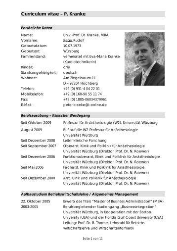 Curriculum vitae – P. Kranke - Univ. Prof. Dr. Med. Peter Kranke