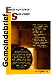 Gemeindebrief April / Mai 2012 - Evangelische Kirche in Mannheim