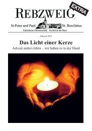 Das Licht einer Kerze - Katholische Gemeinde Hochheim