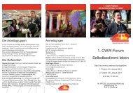 1. CWW-Forum Selbstbestimmt leben - Caritas Wohn