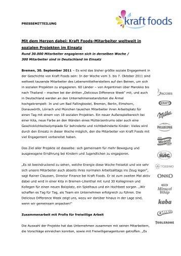 Kraft Foods-Mitarbeiter weltweit in sozialen Projekten im Einsatz
